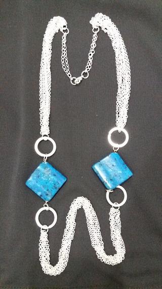 Semi Joia- Colar Com Pingente Pedra Azul Natural Na Prata