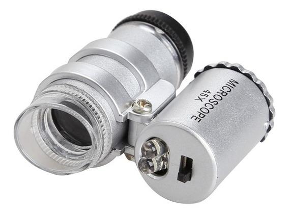 Lupa Mini Microscopio Led De Bolso De Mao Aumento 45x