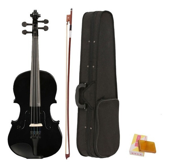 Violino 4/4 Preto Estojo Luxo Arco Breu Cavalete