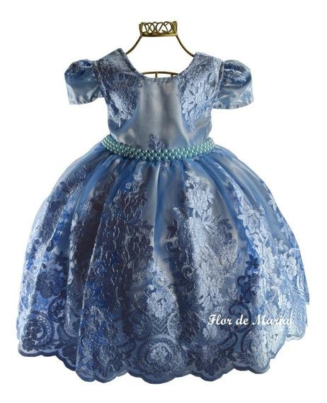 Vestido Infantil Festa Realeza Luxo Princesa Azul Cinderela