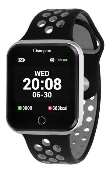 Relogio Smart Watch Champion Unissex Ch50006c Prata C/ Preto