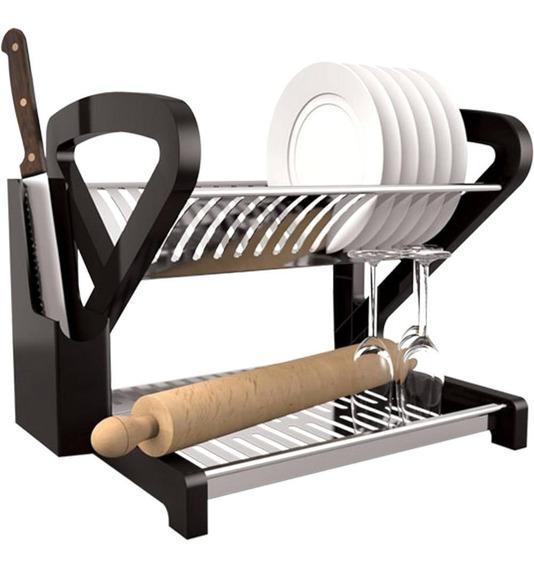 Escorredor De Pratos Inox Porta Talheres E Facas Cozinha