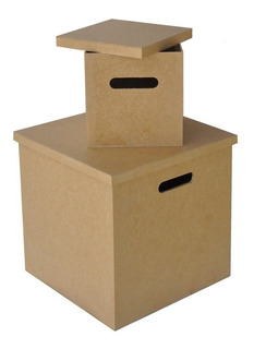 Caixa Organizador Vinil Discos /lp + Caixa Compacto Mdf Cru