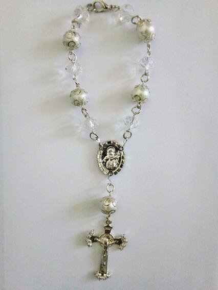 Lindo Decenario Plateado Cristales Perlas De Fantasía Fina