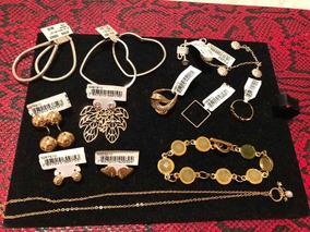Kit 10 Peças Em Semi-jóias Folheadas A Ouro E Prata.
