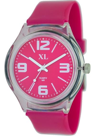 Reloj Xl Extra Large Moda Plástico Dama Xl463 Transp.