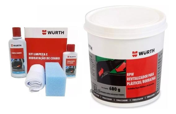 Rpw Wurth - Revitalizador De Plastico E Borracha 680g + Kit Limpeza E Hidratação De Couro Wurth - Limpa E Hidrata