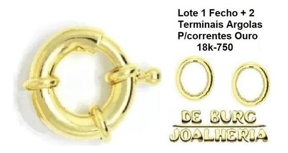 Fecho Boia Médio Português 1,8g Ouro 18k 750 Tam. 12,5mm