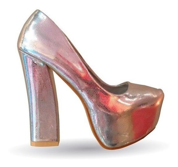 Zapato Mujer Taco Ancho Plata