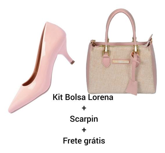 Kit Sapato Feminino Scarpin + Bolsa + Frete Grátis