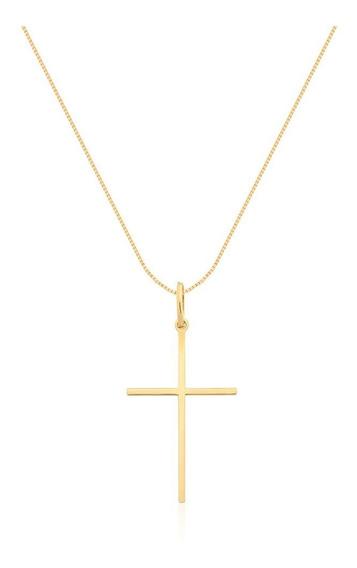 Corrente Com Pingente Cruz Em Ouro 18k - Ov/p006