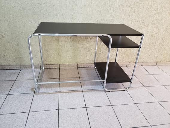 Mesa Escrivaninha Preta Com Inox Tok Stok - Usada Bom Estado