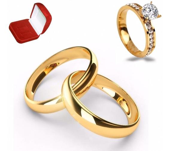 Par Alianças De Moeda Antiga 4mm Casamento Noivado + Anel