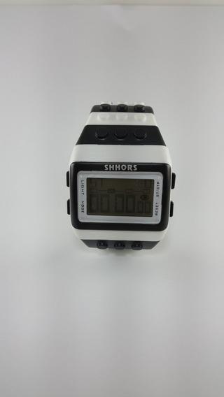 Relógio Lego Digital Luz Led Shhors Preto E Branco