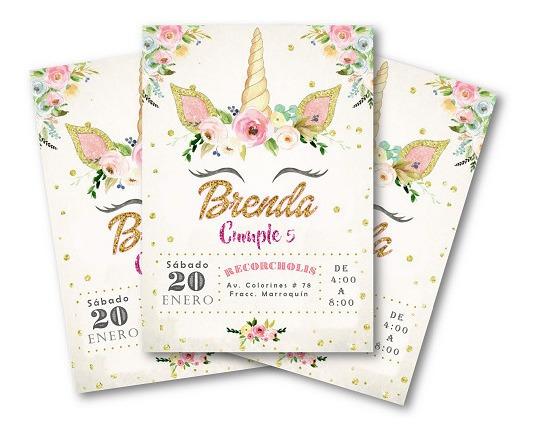 Invitacion Imprimible Unicornio Con Flores
