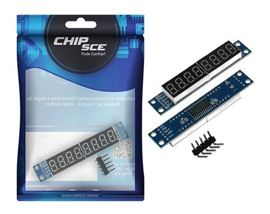 Módulo Display Led Com 7 Segmentos E 8 Digítos Max7219 Chips