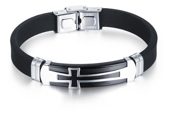 Pulseira Masculina Bracelete De Silicone + Aço 316l + Cruz