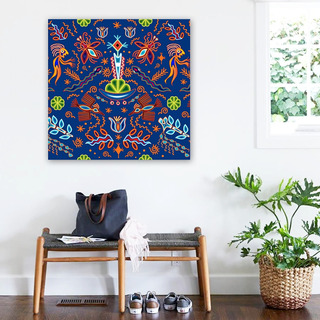 Cuadro Arte Mexicano Otomi Huichol En Lienzo Canvas Decor