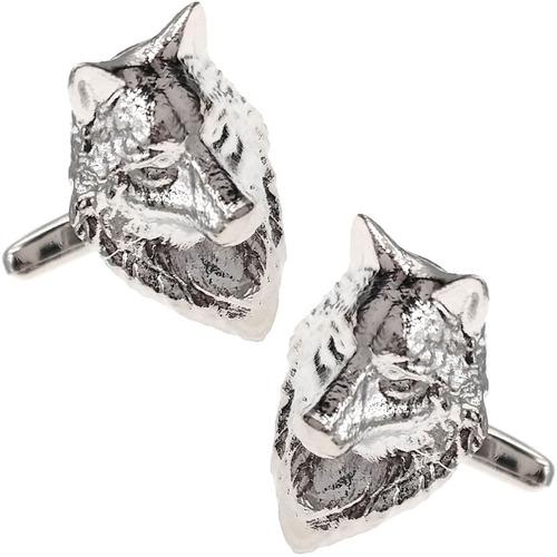 Imagen 1 de 2 de Mancuernillas Thot Ra Figura De Lobo Plateado Acero D-708