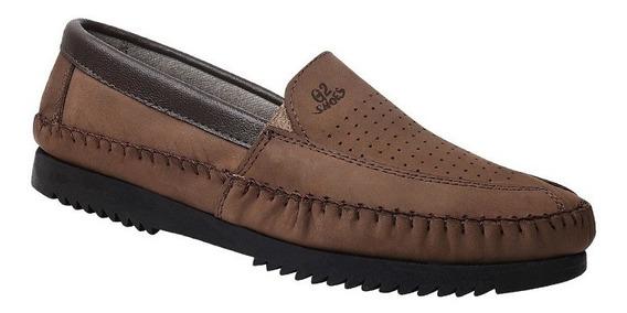 Sapatilha Masculina Em Couro Legítimo Gs Shoes Ref.:1378x