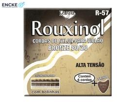 12 Jogo Enc. Violão Nylon Rouxinol 80/20 R57 + Palheta