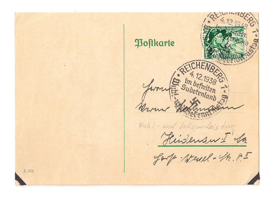 L1 - Alemania Reich Tarjeta Matasello Sudetenland Año 1938