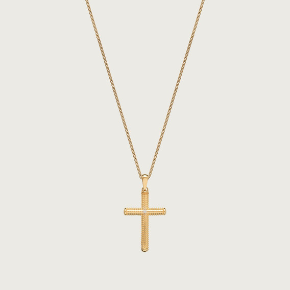 Cordão Com Pingente Crucifixo Em Ouro 18k