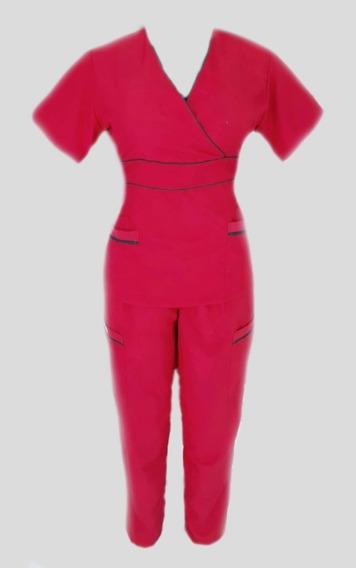 Uniforme Quirúrgico Para Dama Color Rojo Con Negro