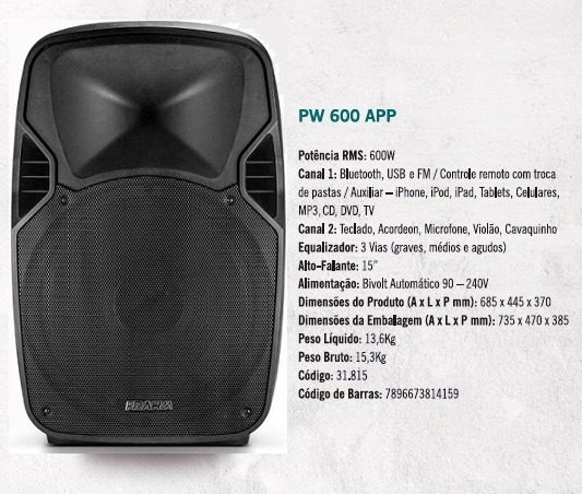 Caixa Frahm Ativa Pw600 15 Pol 600w Rms Bt Usb Fm 2canais
