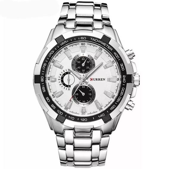 Relógio Masculino Aço Inox Original Curren Da Moda