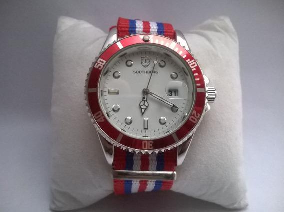 Relógio Southberg Submariner Vermelho Pulseira Nylon