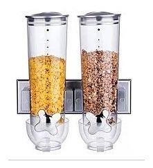 Dispenser De Parede Duplo Cozinha 2 Potes Cereais Sucrilhos