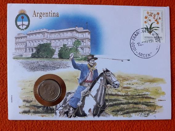 Sobre Conmemorativo Con Moneda Argentina