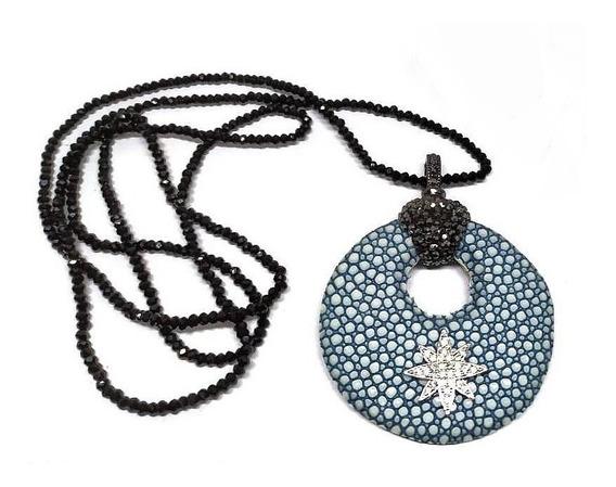 Eg2- Colar Couro Estrela Zirconias Cristal Negro Rodi