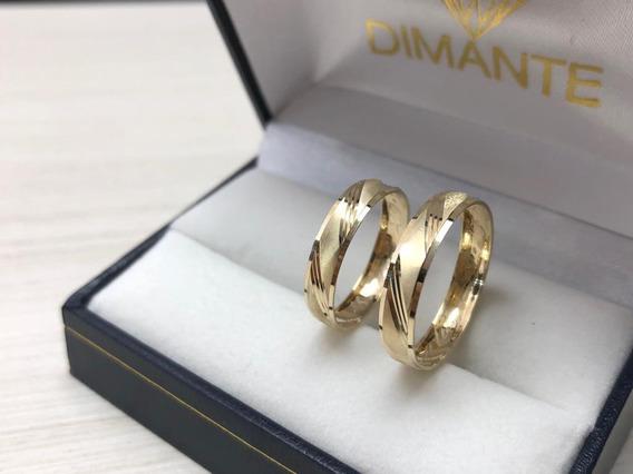 Argollas Matrimoniales Oro Amarillo 10k Par 4mm Estuche
