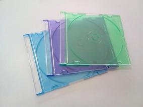 16 Estojos Em Acrílico Cd Box Slim Transparentes Coloridos