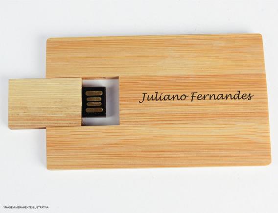Pen Drive Card Ecológico De Bambu 4g Personalizado Com Grava