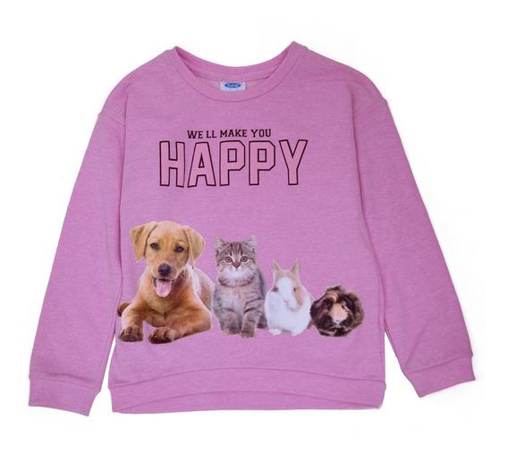 Sudadera Para Niña Manga Larga Estampada Mascotas Happy