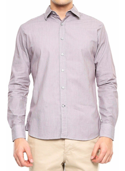Camisa Simple People Hombre Caballero Vestir Morada Talla L