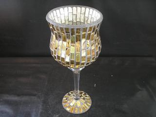 Antiga Taça Gigante 30 Cm Alt Trab Vidros Dourados Anos 60