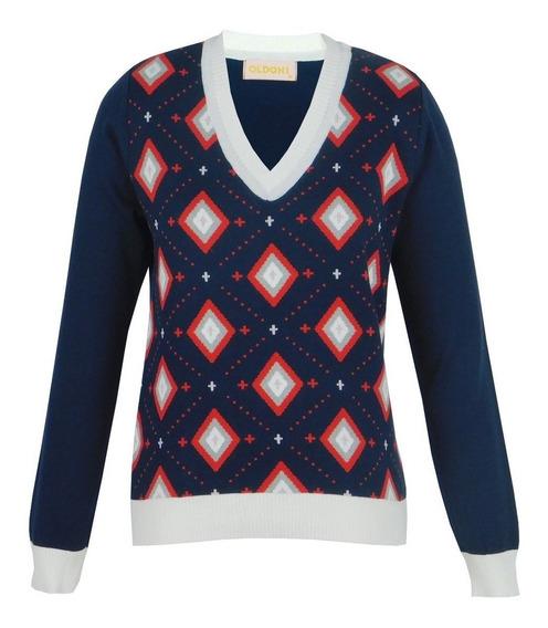 Blusa Suéter Tricot Cardigan Feminino Gola V Marinho Losango