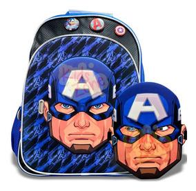 Mochila Escolar 16 Capitan America Avengers + Mascara Sp408