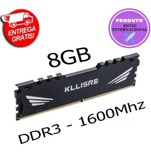 Memória Ram Ddr3 8gb 1600mhz Kllisre - Frete Gratis