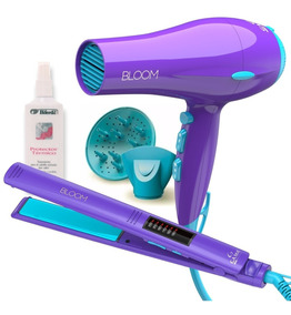Set Gama Bloom Violeta Planchita Led + Secador + Protector