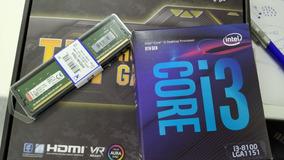 Kit Intel 8ª Geração I3 8100, Mb Asus H310m-plus E 8gb Ddr4