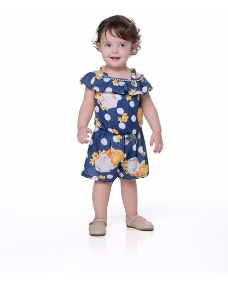 Roupa Infantil Criança Verão Macaquinho Gabriela Aquarela