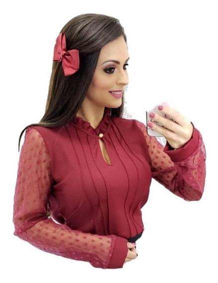 Camisa Social Feminina Com Detale Renda E Botão P Ao Gg