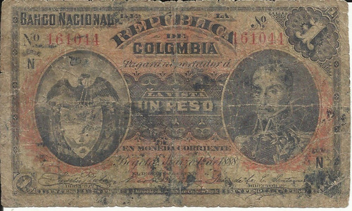 Imagen 1 de 2 de Colombia 1 Peso Oro 1 Marzo 1888