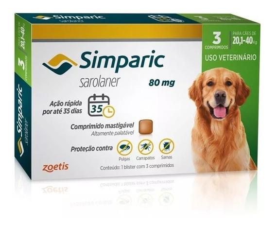 Combo Antipulga Simparic 80 Mg 20 A 40 Kg 3 Comprimidos