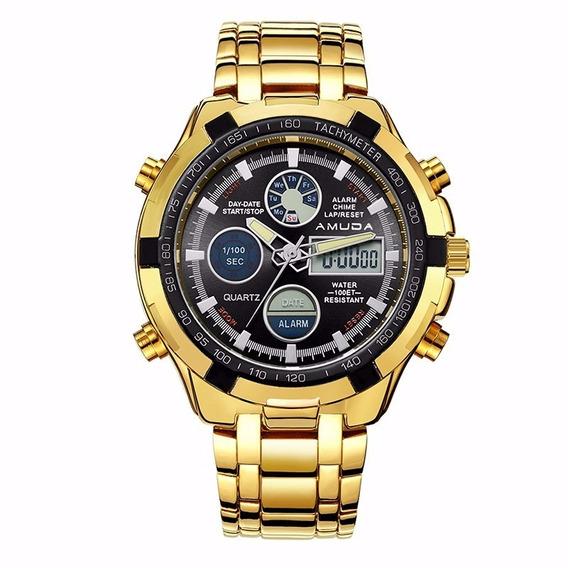 Relógio Masculino Quartzo De Aço Dourado